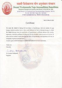 Reference of the Yoga University S-VYASA for Dr. Sohail Ebady