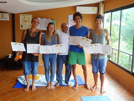 Freshly certified yoga teachers and Sohail, Chiang Rai 2013