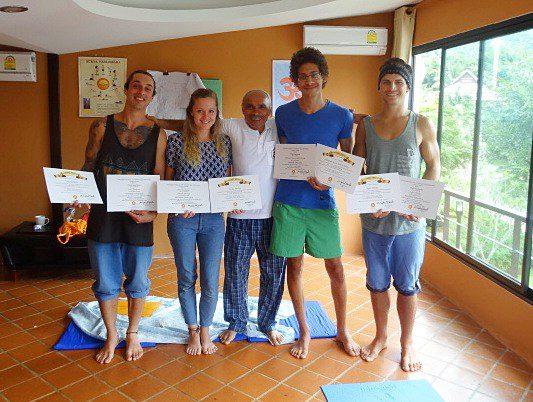 Freshly certified yoga teachers and Sohail, Chiang Rai 2013